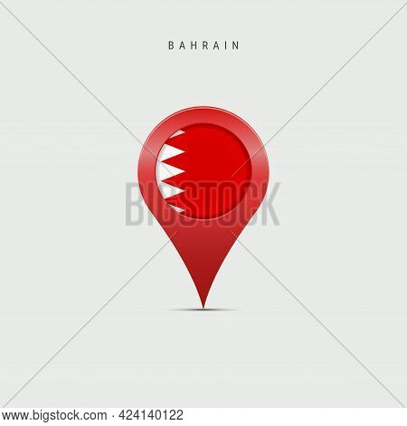Teardrop Map Marker With Flag Of Bahrain. Bahraini Flag Inserted In The Location Map Pin. Vector Ill