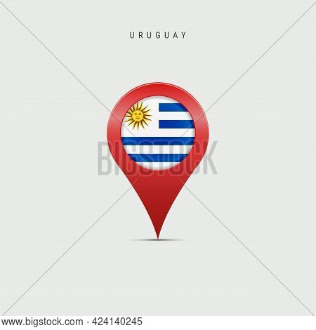 Teardrop Map Marker With Flag Of Uruguay. Uruguayan Flag Inserted In The Location Map Pin. Vector Il