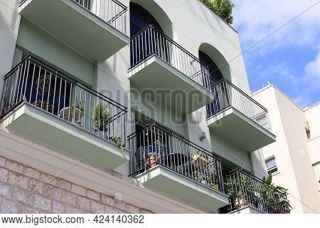 Old Houses In Classical Style In The White City Of Tel Aviv In Israel. Architectural Details Of Cons