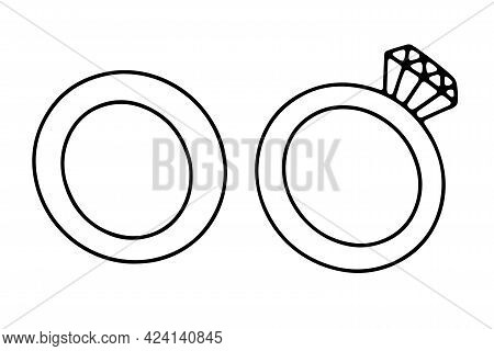 Doodle Diamond Ring. Hand-drawn Brilliant Jewelry With Gemstone On White Background. Outline Bridal