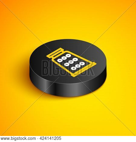 Isometric Line Grater Icon Isolated On Yellow Background. Kitchen Symbol. Cooking Utensil. Cutlery S