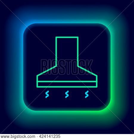 Glowing Neon Line Kitchen Extractor Fan Icon Isolated On Black Background. Cooker Hood. Kitchen Exha