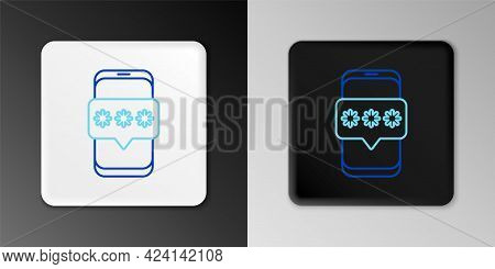 Line Mobile And Password Protection Icon Isolated On Grey Background. Security, Safety, Personal Acc