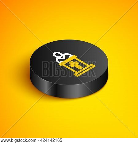 Isometric Line Church Pastor Preaching Icon Isolated On Yellow Background. Black Circle Button. Vect