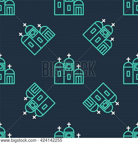 Line Church Building Icon Isolated Seamless Pattern On Black Background. Christian Church. Religion