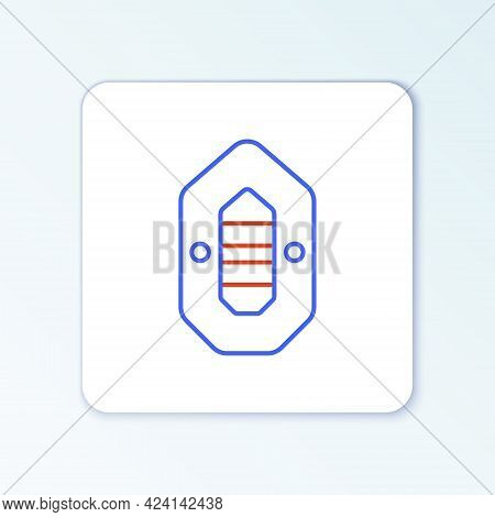 Line Rafting Boat Icon Isolated On White Background. Inflatable Boat. Water Sports, Extreme Sports,