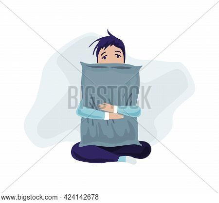 Depressed People. Sad Boy Sitting On The Floor And Hugging His Pillow. Lonely Teenager. Symbol Of So