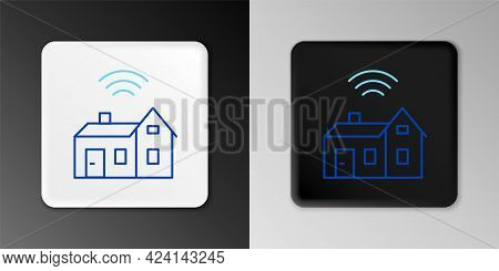 Line Smart Home With Wireless Icon Isolated On Grey Background. Remote Control. Internet Of Things C