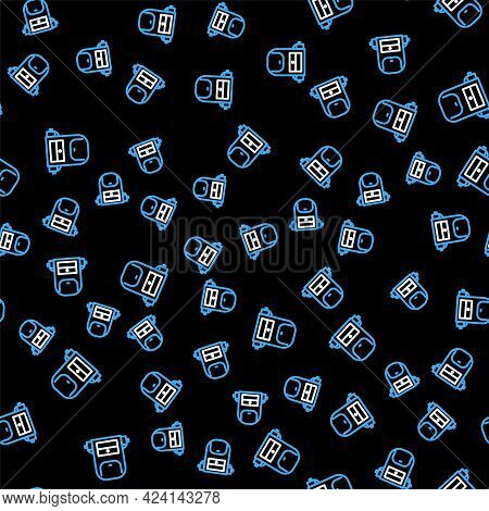 Line Hiking Backpack Icon Isolated Seamless Pattern On Black Background. Camping And Mountain Explor
