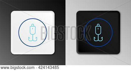 Line Fishing Hook Icon Isolated On Grey Background. Fishing Tackle. Colorful Outline Concept. Vector