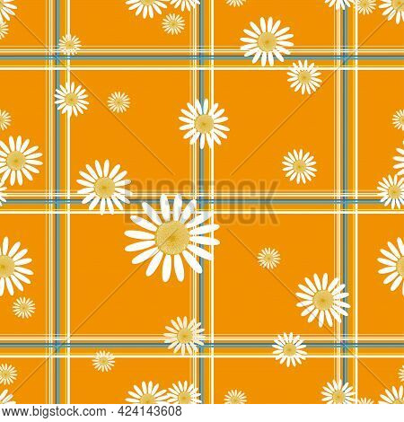 Seamless Daisy In Different Size On Tartan Pattern Background In Yellow, Blue And White. Cute Flower