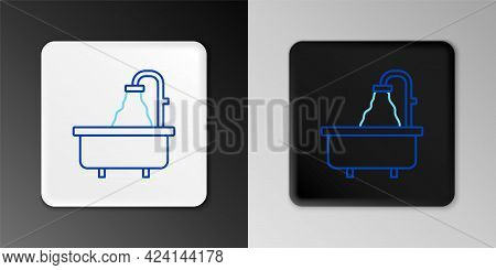 Line Bathtub Icon Isolated On Grey Background. Colorful Outline Concept. Vector