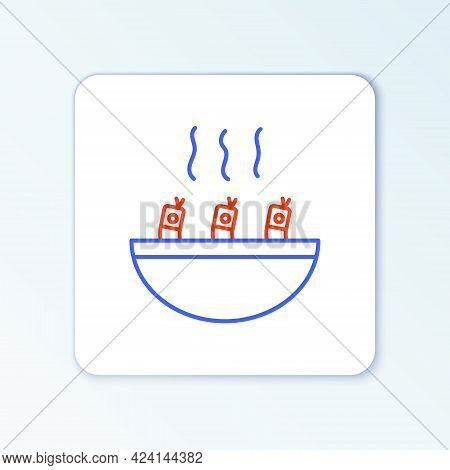 Line Soup With Shrimps Icon Isolated On White Background. Tom Yum Kung Soup. Colorful Outline Concep