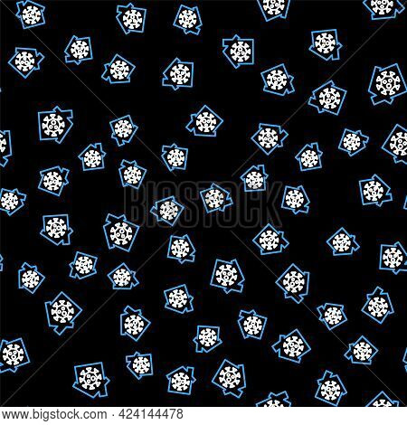 Line Stay Home Icon Isolated Seamless Pattern On Black Background. Corona Virus 2019-ncov. Vector