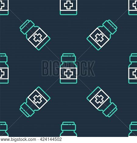 Line Medicine Bottle And Pills Icon Isolated Seamless Pattern On Black Background. Medical Drug Pack