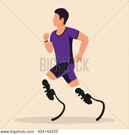 A Boy With Prosthetic Legs Is Running. A Disabled Man Is Running. Rehabilitation For The Disabled.