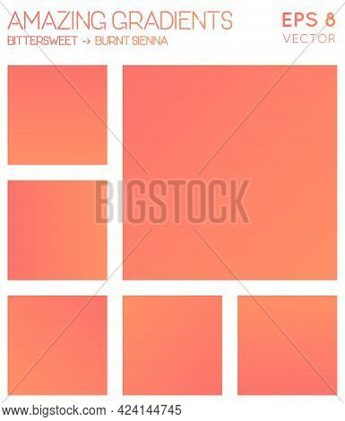 Colorful Gradients In Bittersweet, Burnt Sienna Color Tones. Admirable Background, Enchanting Vector