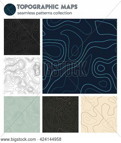 Topographic Maps. Astonishing Isoline Patterns, Seamless Design. Classy Tileable Background. Vector