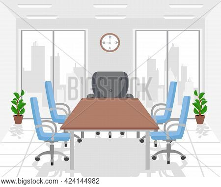 Office, Meeting Workspace With Boss Chair And Large Windows. Business