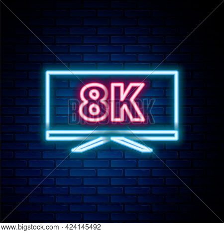 Glowing Neon Line Screen Tv With 8k Ultra Hd Video Technology Icon Isolated On Brick Wall Background