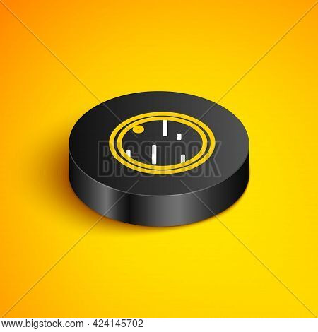 Isometric Line Cutting Board Icon Isolated On Yellow Background. Chopping Board Symbol. Black Circle