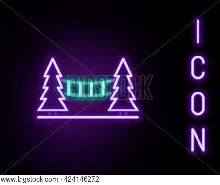 Glowing Neon Line Capilano Suspension Bridge In Vancouver, Canada Icon Isolated On Black Background.