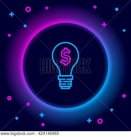 Glowing Neon Line Light Bulb With Dollar Symbol Icon Isolated On Black Background. Money Making Idea