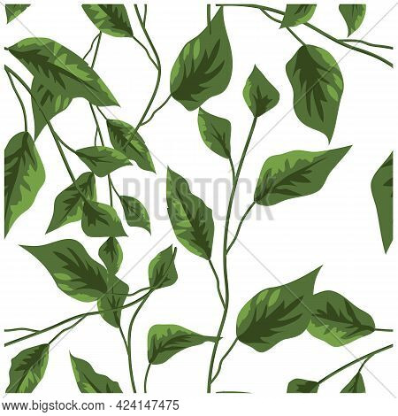 Green Leaves. Seamless Vector Texture. Vector Seamless Pattern. Floral Background. Vector Illustrati