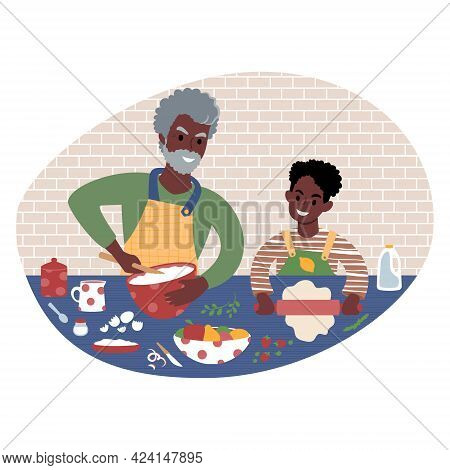 Grandfather And Grandson Preparing Meal Together. Flat Style Illustration.