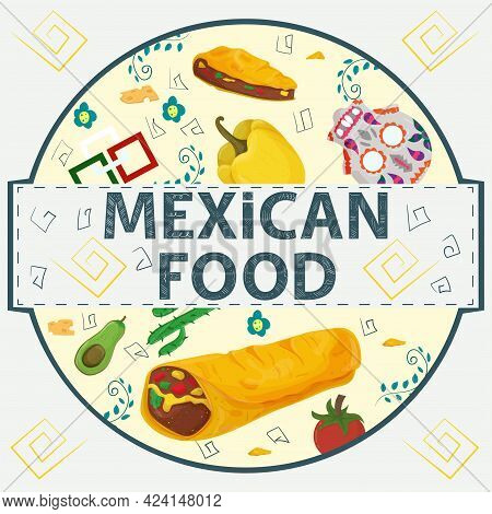 Banner Label Round Illustration, In A Flat Design On The Theme Of Mexican Food, The Inscription Name