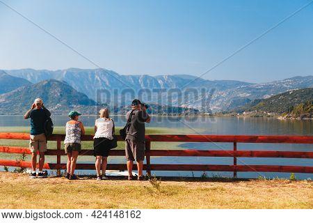 Montenegro, Skadar Lake - September, 21 2018: Group Of Senior Tourists Looking At Beautiful View Of