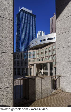 Tokyo, Japan - November 12: View Of The Tokyo Metropolitan Assembly Building With Skyscrapers In Shi