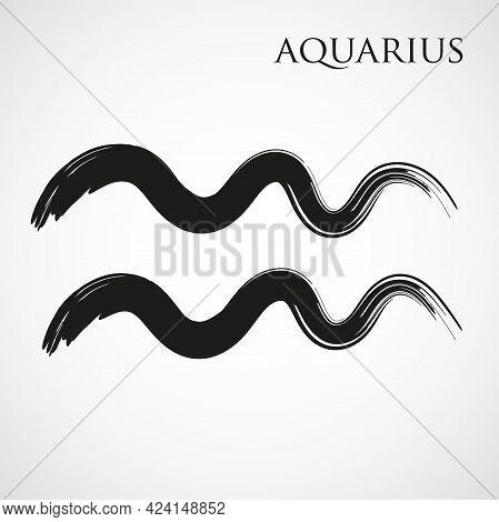 Aquarius Zodiac Symbol Isolated On White Background. Brush Stroke Aquarius Zodiac Sign. Hand Drawn V