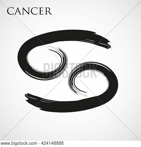 Cancer Zodiac Symbol Isolated On White Background. Brush Stroke Cancer Zodiac Sign. Hand Drawn Vecto
