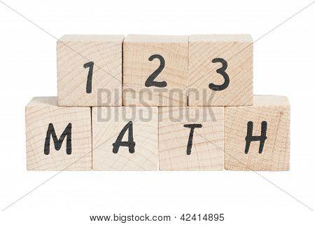 Math Sum With Wooden Blocks.