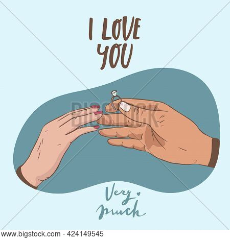 Will You Marry Me. Marriage Proposal Vector Illustration With Wedding Ring And Male And Female Hands