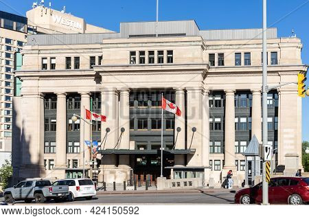 Ottawa, Canada May 23, 2021: The Senate Of Canada Government Building On Rideau Street In Downtown O