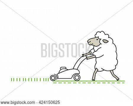 Funny Happy White Sheep Mows The Green Grass With A Lawn Mower And Makes Lawn. Comic Doodle Line Art
