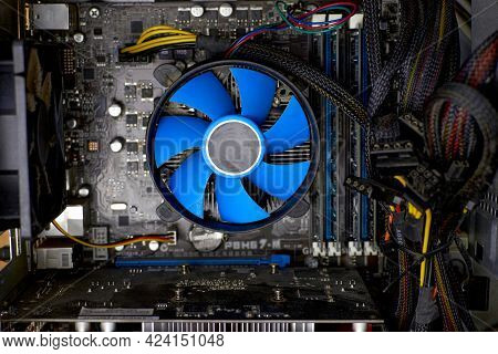 Desktop Computer Covered In Dust. Cpu Contamination Of The Cooler. Concept Of A Computer Service. Cl