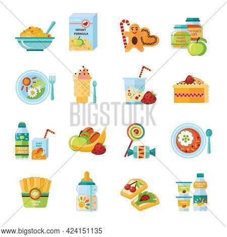 Infant And Baby Food Flat Icons Collection With Milk Formula And Vegetable Puree Abstract Isolated V