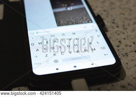 Belarus, Novopolosk - 09 June, 2021: Keypad On The Display Of A Mobile Phone Close Up