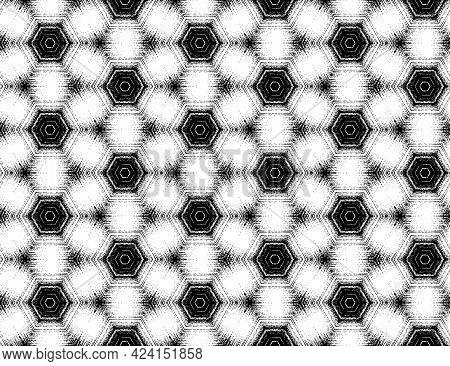 Seamless Hexagon Pattern, Abstract Black And White Textured Kaleidoscopic Effect. Vector Illustratio