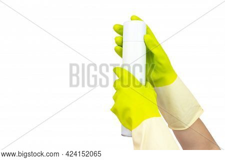 Spring Cleaning Concept. Top View Of Hand In Yellow Rubber Gloves Holding Sprayed Air Freshener. The