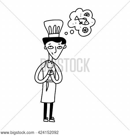 Small Cook Cooking Fish, Cute Child Cooker Character Wearing White Hat And Apron Dreaming About Deli