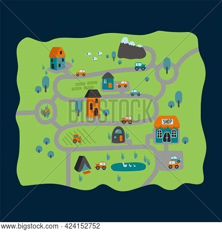 Cartoon City Map Is A City Road Game. Cute Wallpaper Or Carpet For The Childrens Room. Childrens Bac