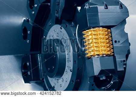 Cnc Lathe Machine Or Turning Machine Chucking The Steel Cone Shape Rod. Hi Technology Manufacturing