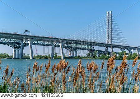 Montreal, Canada - 7 June 2021: New Champlain Bridge Next To Old Champlain Bridge