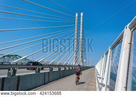 Montreal, Ca - 7 June 2021: Multi-use Pathway On New Samuel De Champlain Bridge