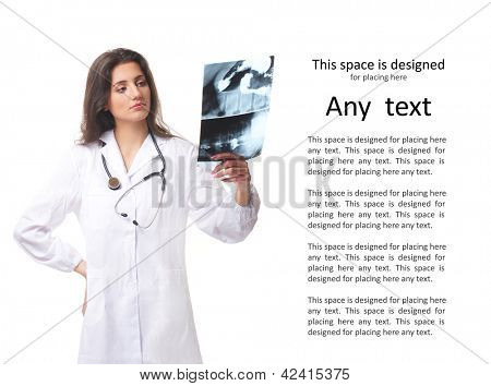 Young, smart and professional doctor isolated on white with some blank space