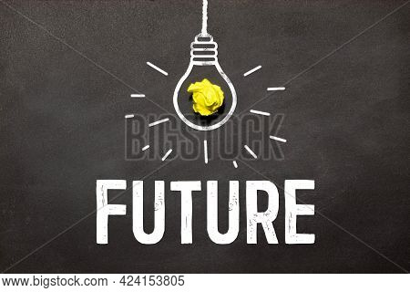 Future Word Formed From White Alphabetic Letters On Wooden Background. Planning Future Retirement Pl